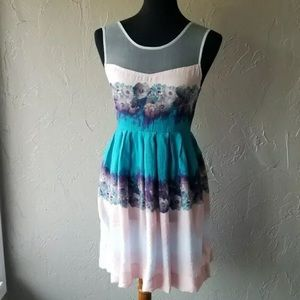 Kimchi Blue UO Watercolor Dress Mesh Easter Pink